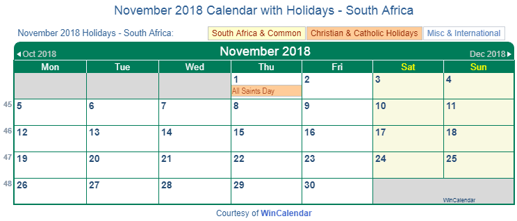 November 2018 Calendar With Holidays South Africa