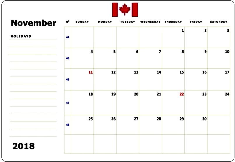 November 2018 Canada Calendar