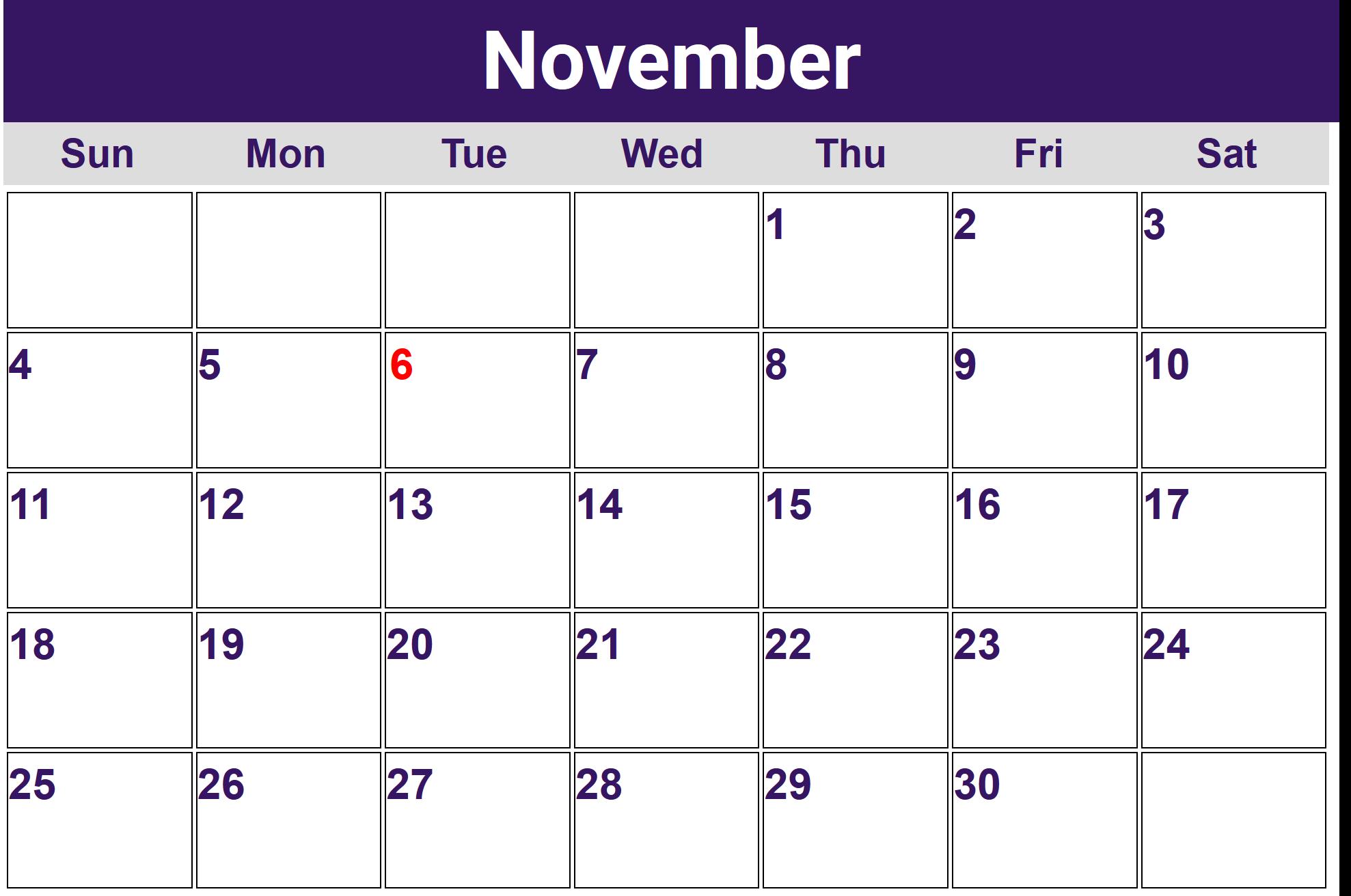November Calendar 2018 Australia