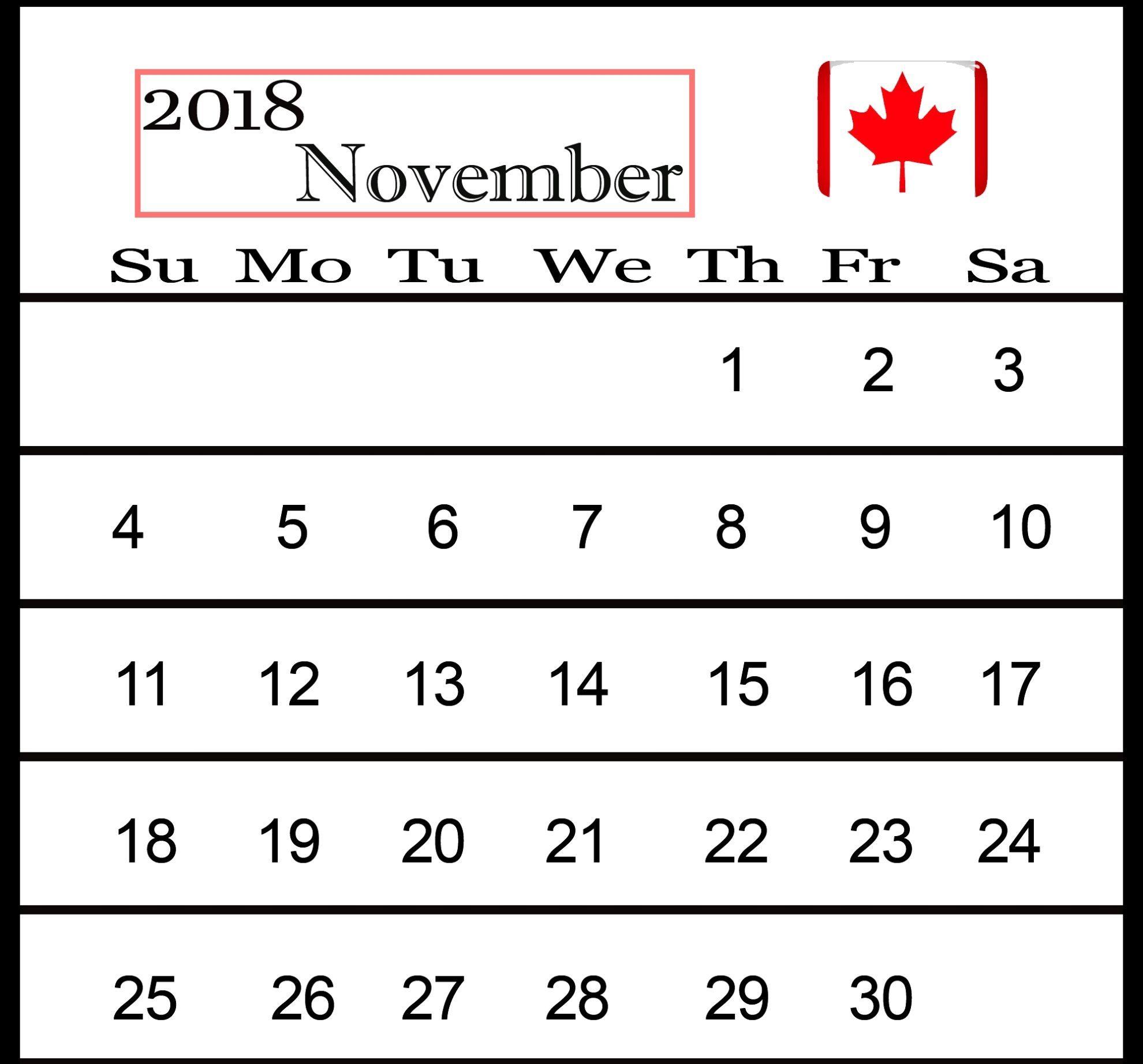 November Calendar 2018 Canada