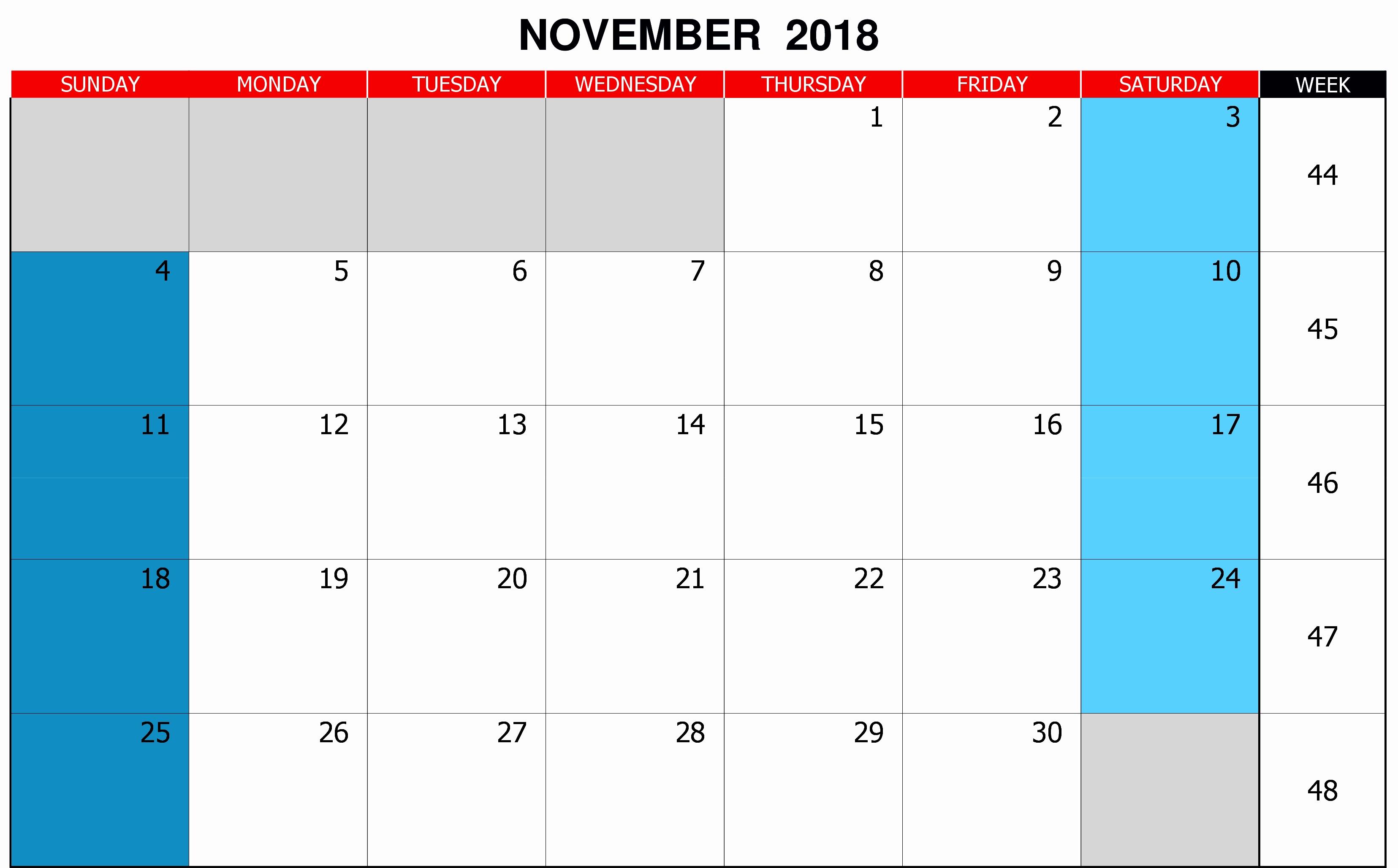 November Calendar 2018 UK