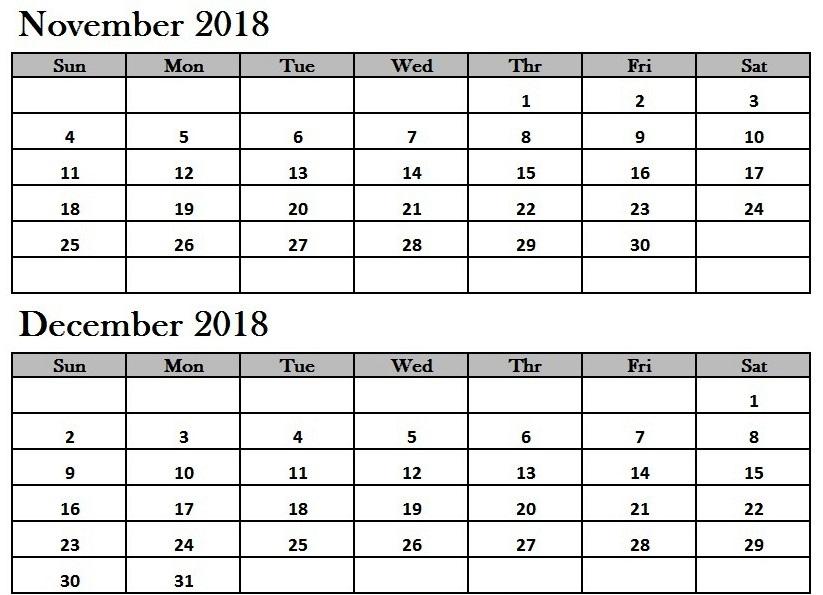 November December 2018 Calendar Printable
