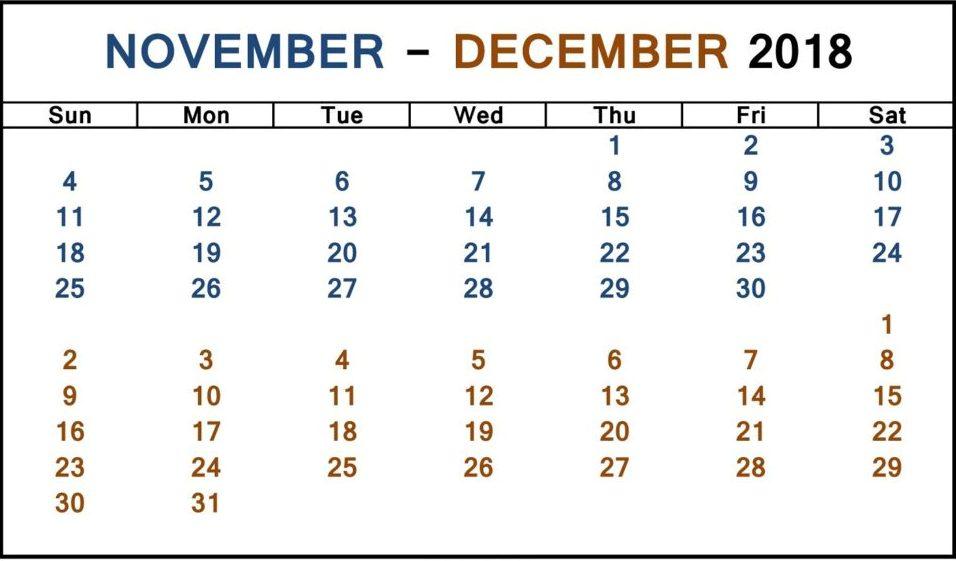 November December 2018 Calendar Template