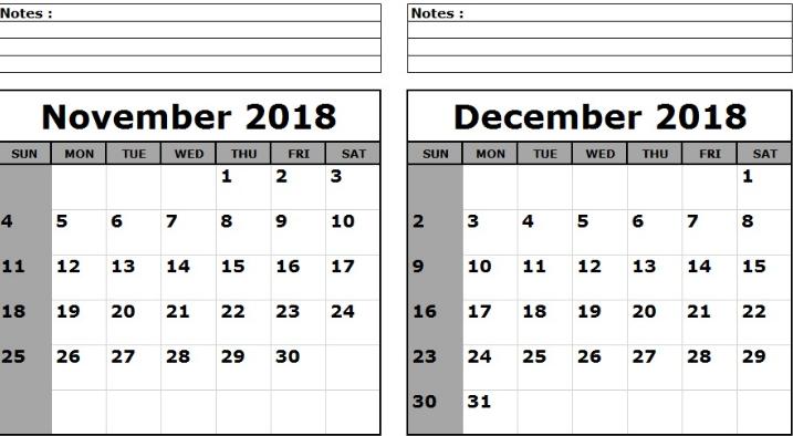 November December 2018 Calendar With Notes