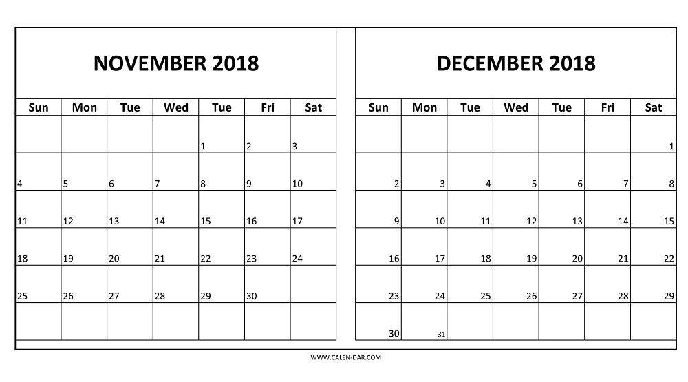 November December 2018 Calendar