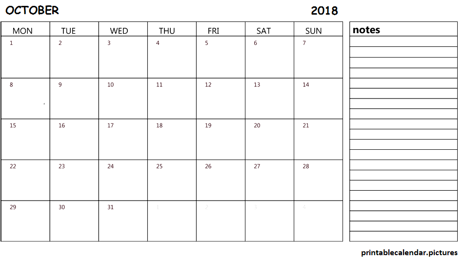 October 2018 Calendar Document With Notes