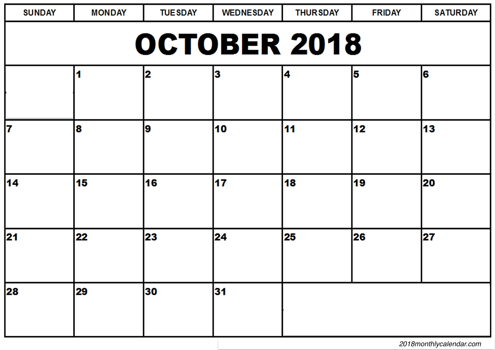 October 2018 Calendar Document in Excel Format
