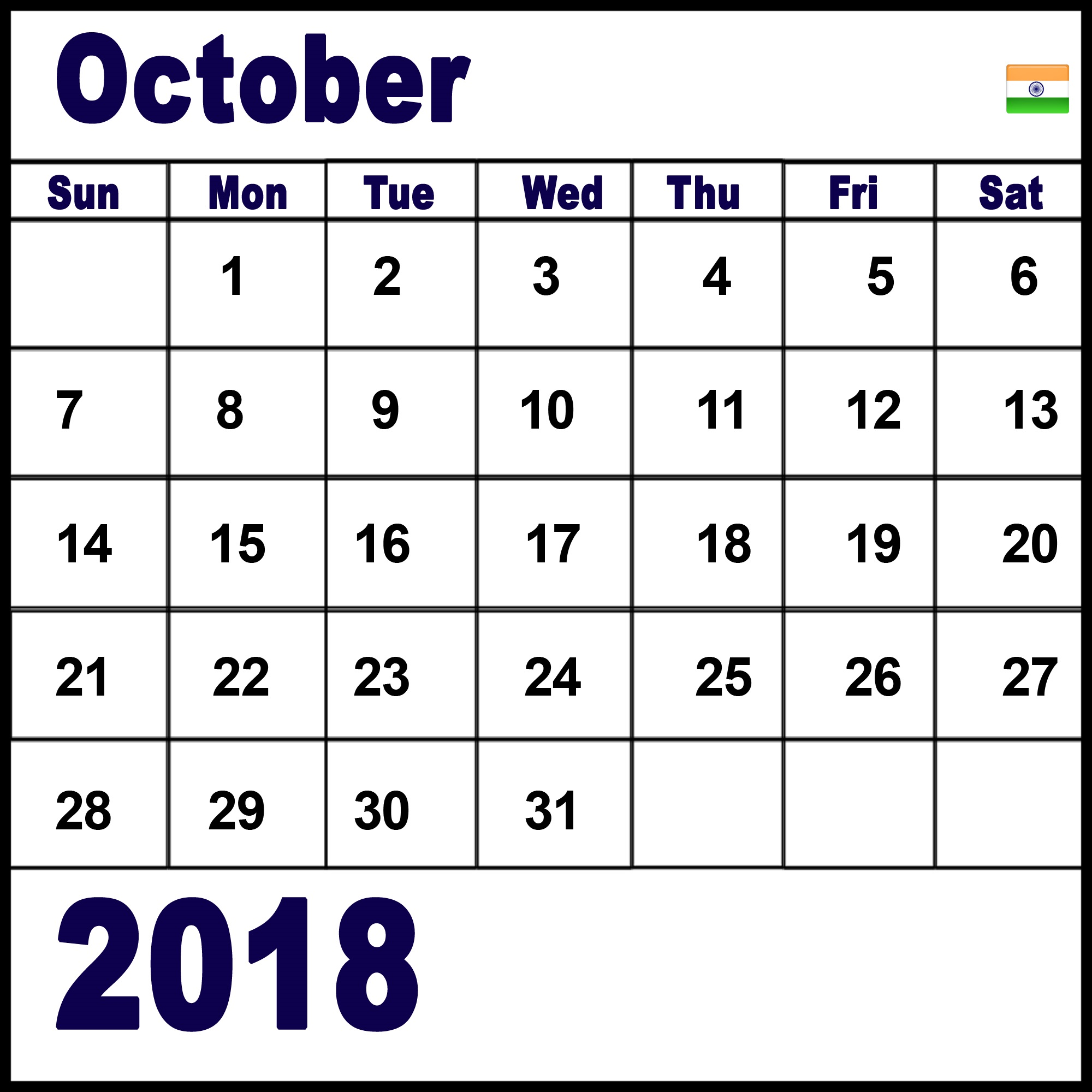October 2018 Calendar India Download HTML