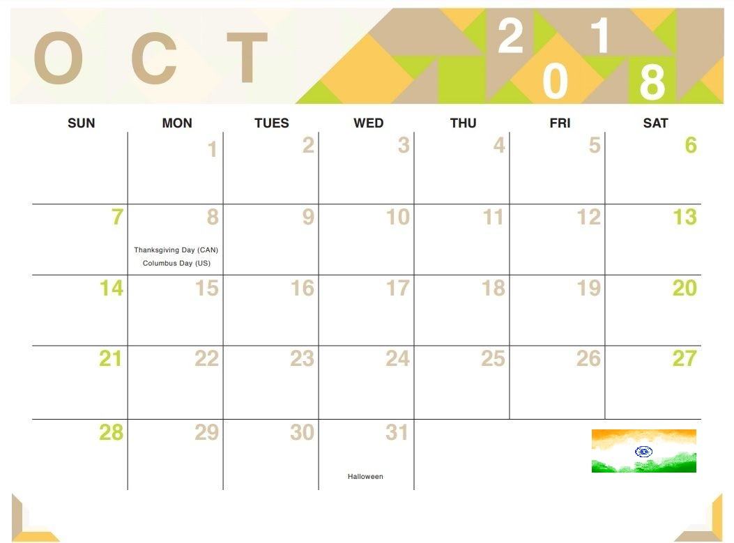October 2018 Calendar India For Excel