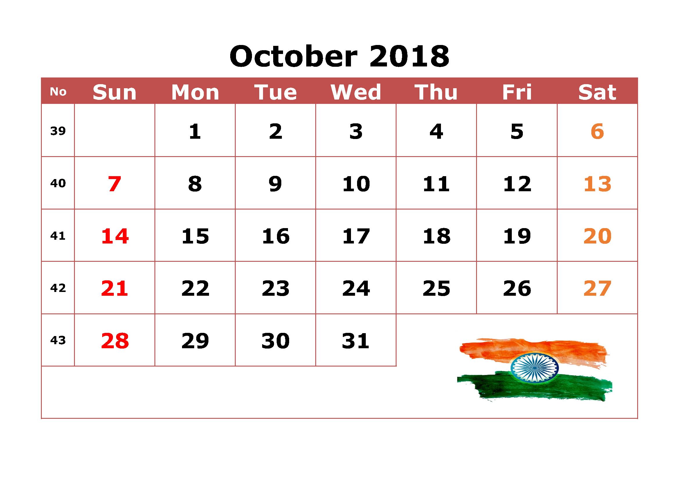 October 2018 Calendar India Free Printable