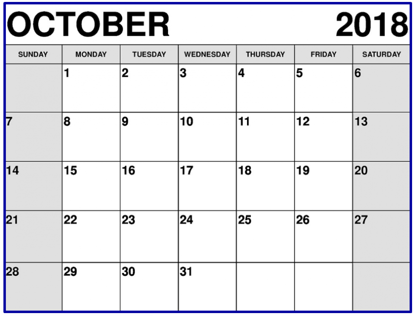 October 2018 Calendar India Holidays