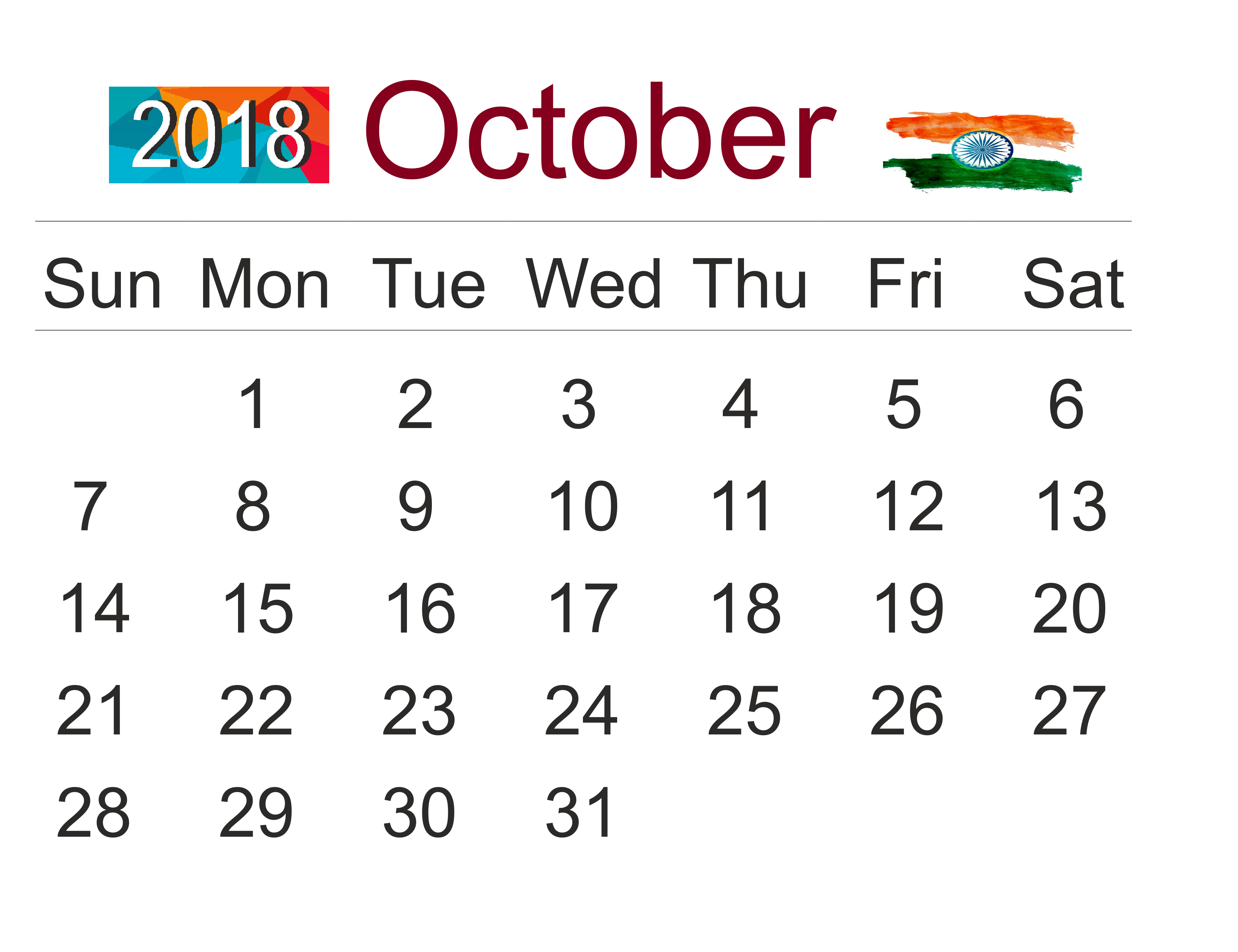 October 2018 Calendar India Monthly Template