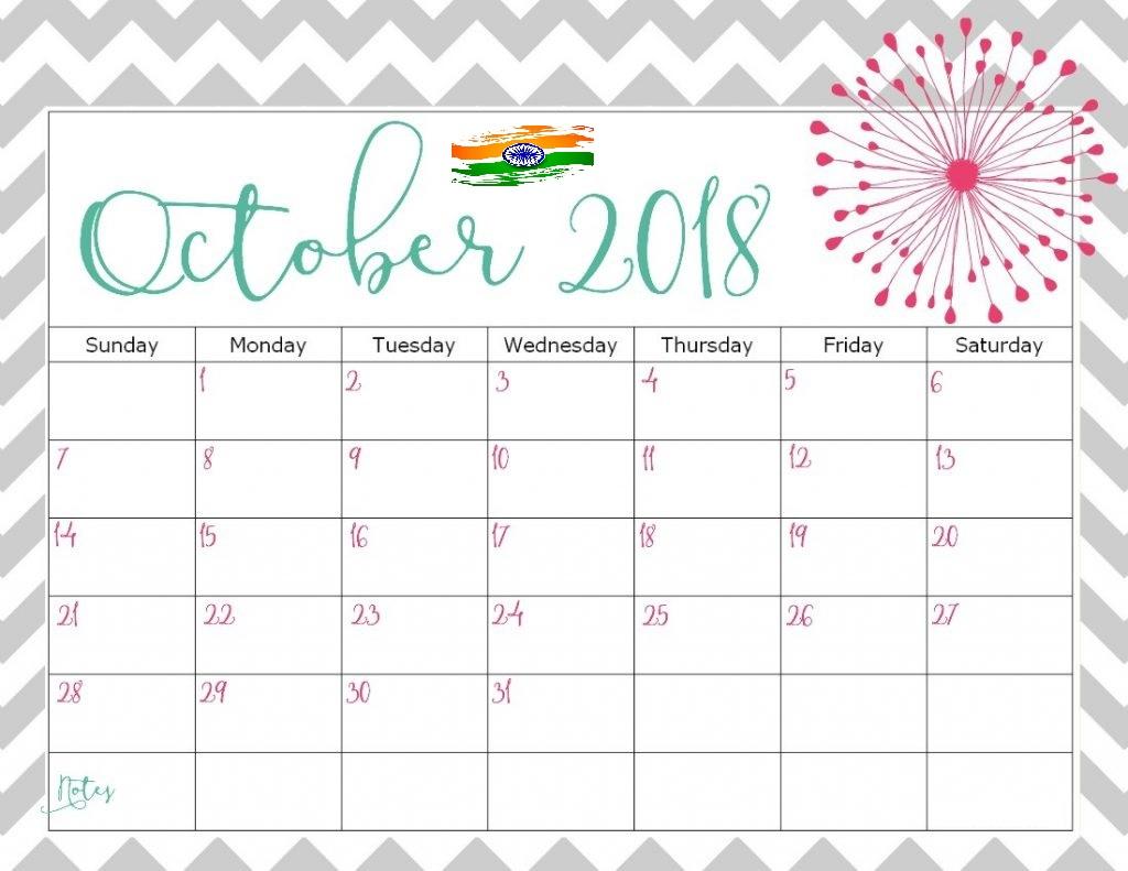 October 2018 Calendar India Print Line