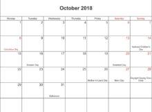 October 2018 Calendar Landscape With Holidays