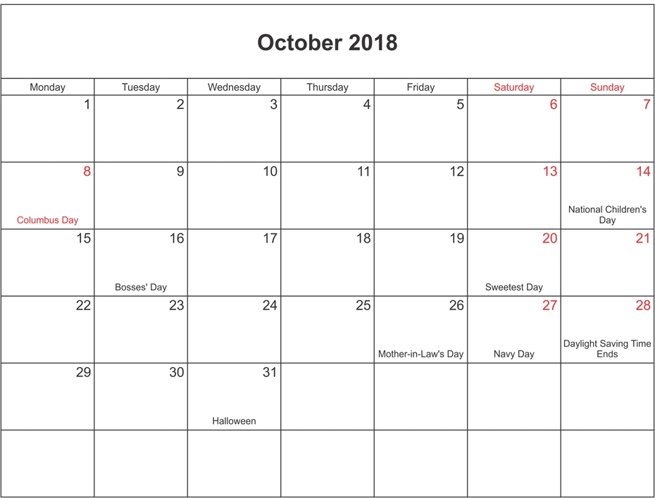 October 2018 Calendar Landscape With Holidays