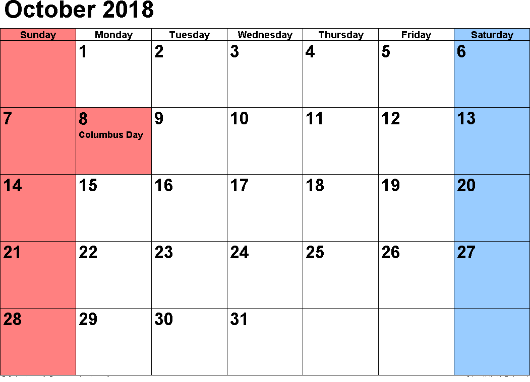 October 2018 Calendar Landscape in Excel