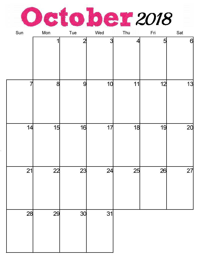 October 2018 Calendar Malaysia Printable