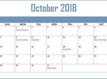 October 2018 Calendar Malaysia With Holidays