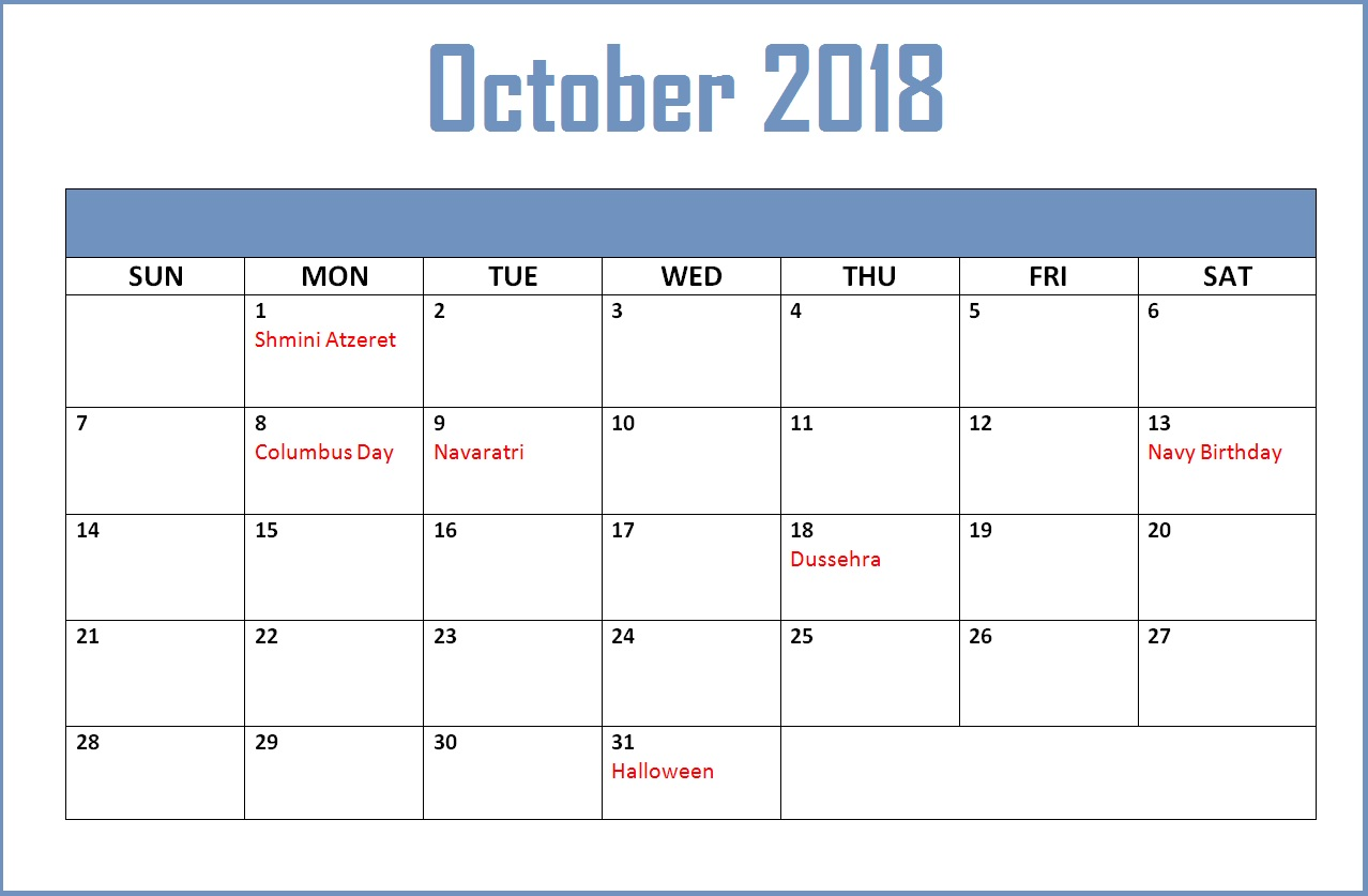 October 2018 Calendar Malaysia With Holidays