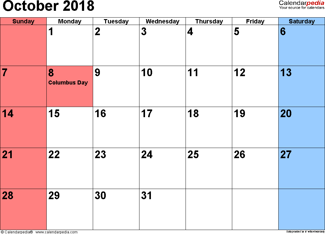 October 2018 Calendar Philippines Holidays