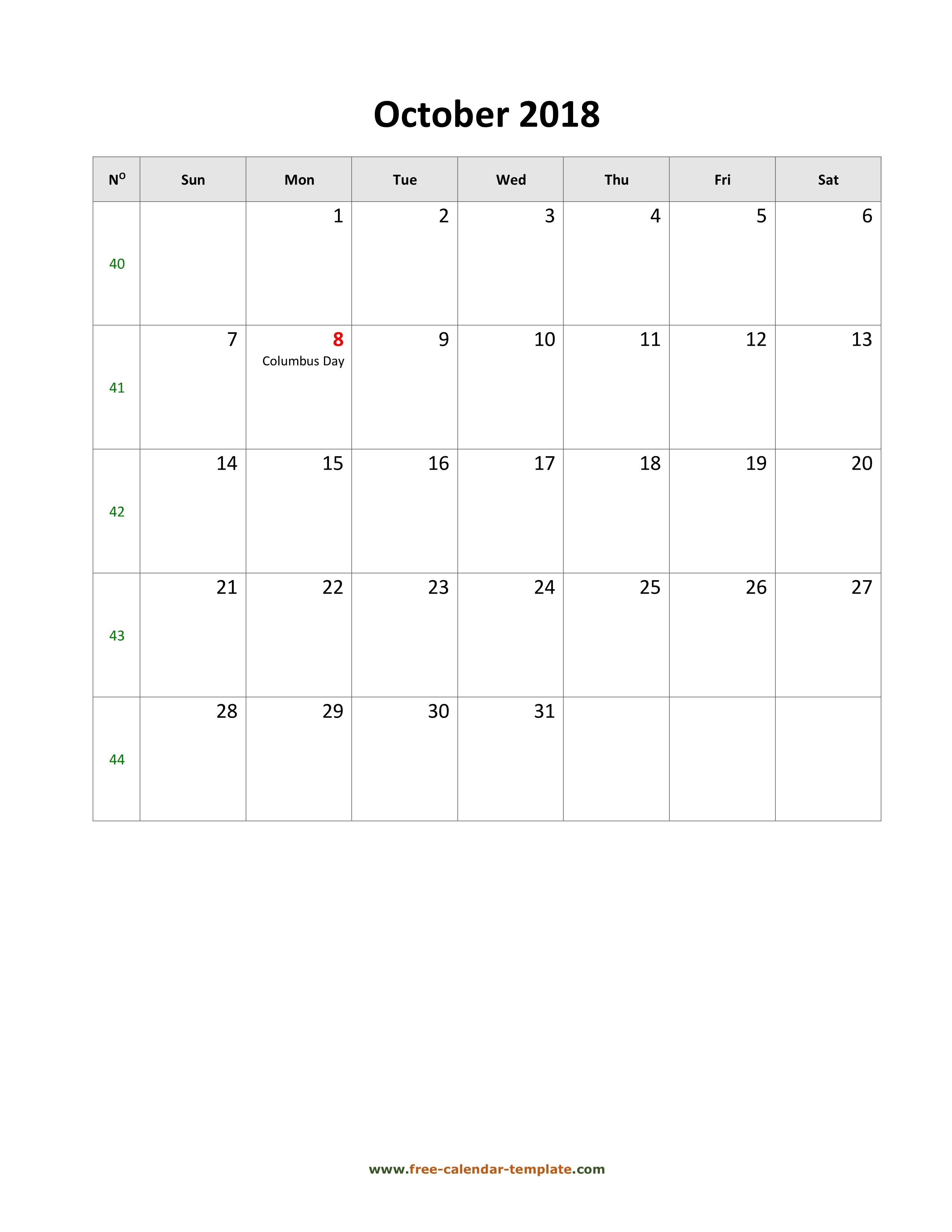 October 2018 Calendar Vertical With Holidays