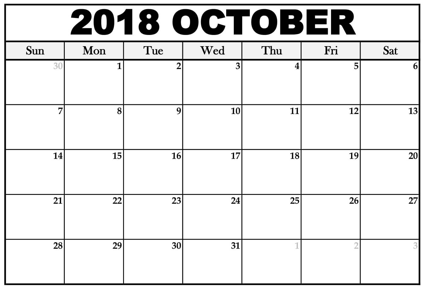 October 2018 Calendar With Holidays Malaysia