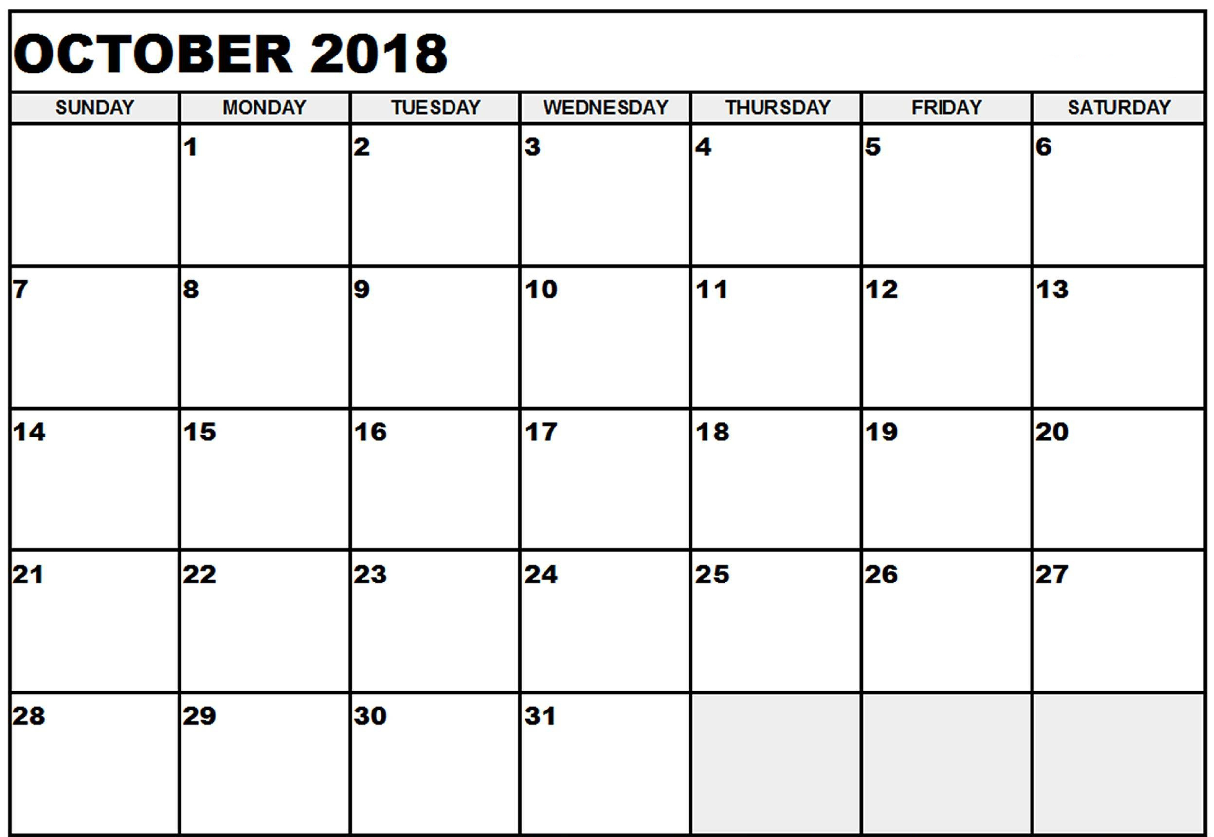 October 2018 Calendar Word Document