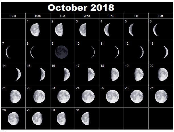 October 2018 Full Moon Calendar Printable