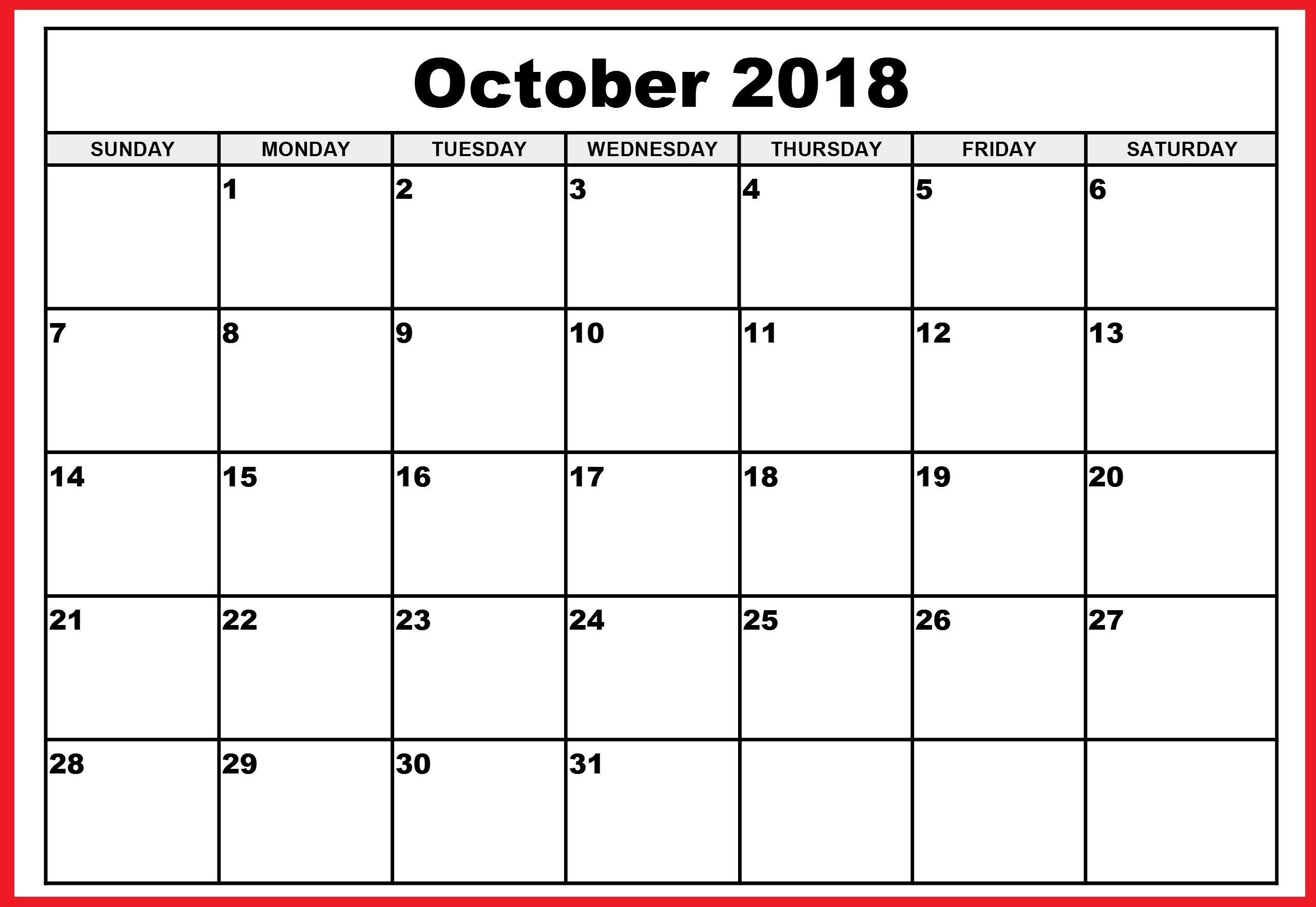 October 2018 Landscape Calendar