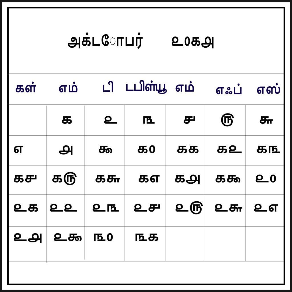 October 2018 Venkatrama Tamil Calendar List