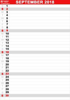 October 2018 Vertical Workout Calendar