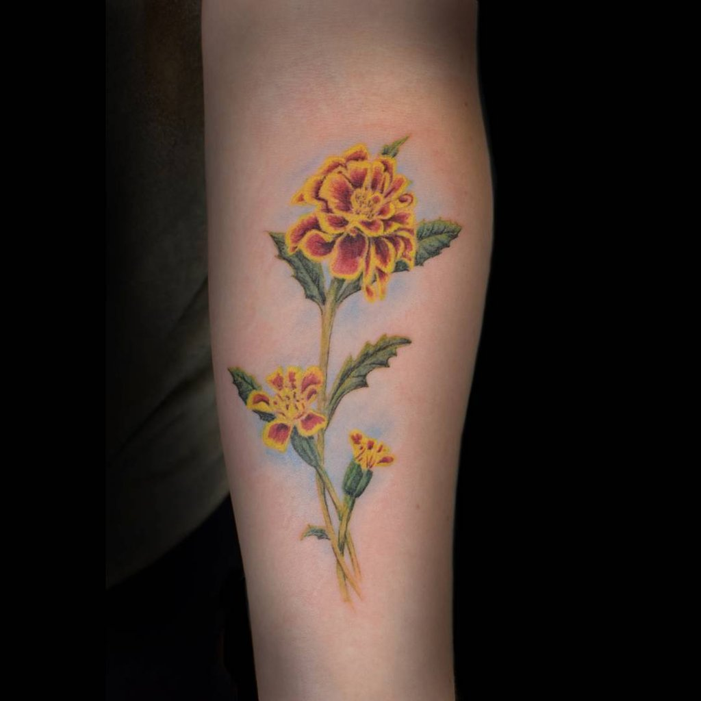 October Birth Flower Marigold Tattoo Pictures