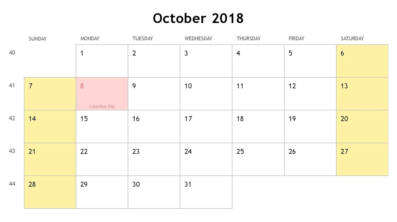 October Calendar 2018 Landscape