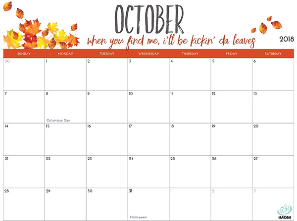 October Calendar 2018 Philippines