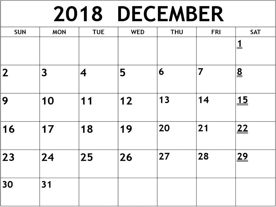 Online December 2018 Calendar Blank