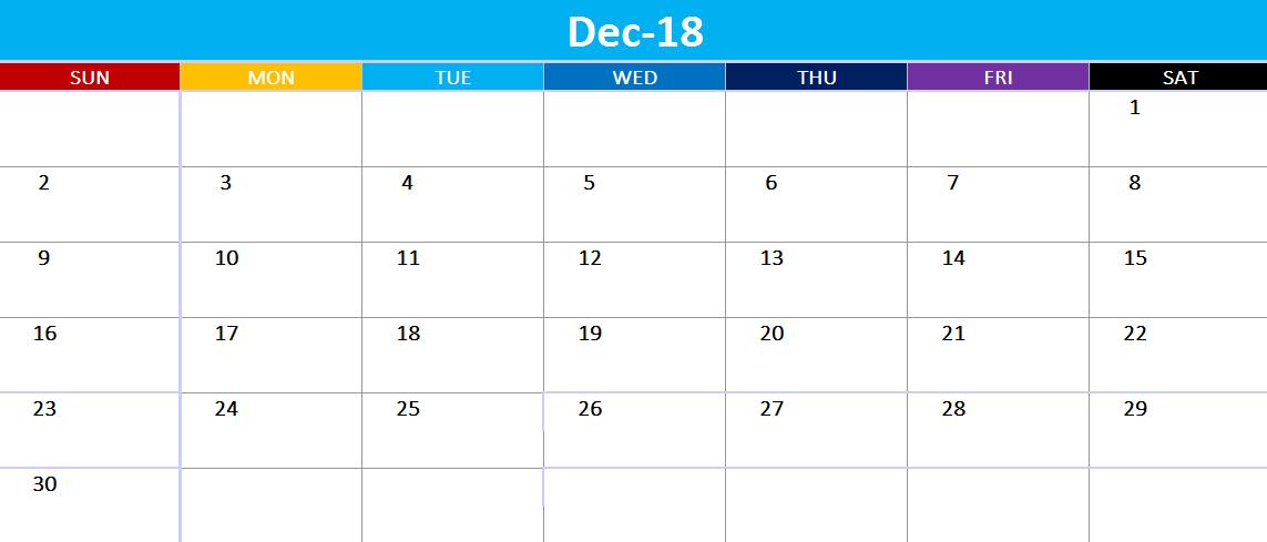 Online December 2018 Calendar Excel