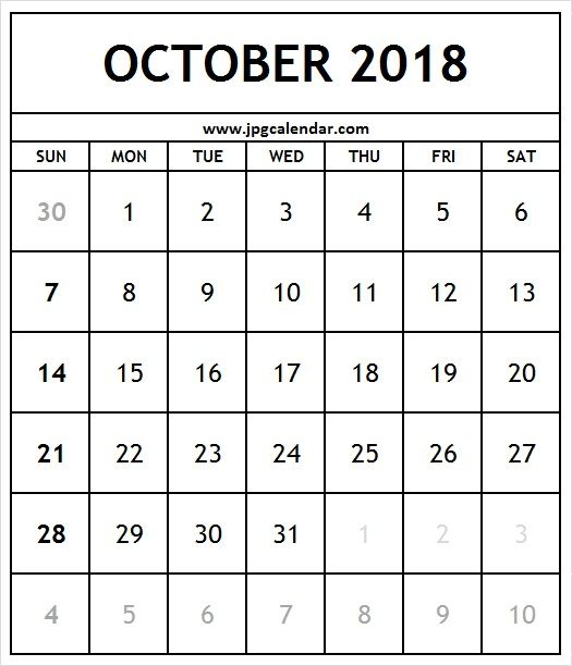Online October 2018 Calendar Portrait
