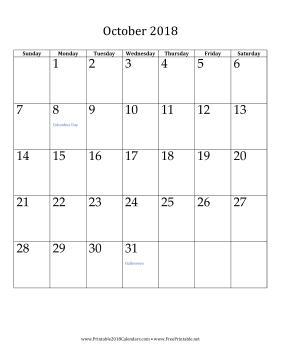 Online October 2018 Calendar Vertical