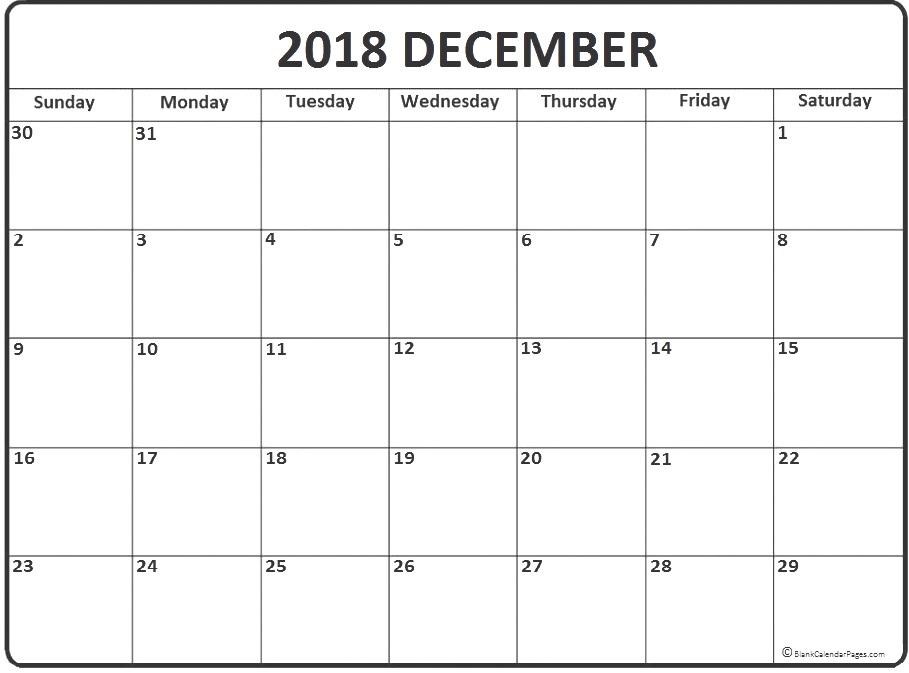 Print December 2018 Calendar Excel