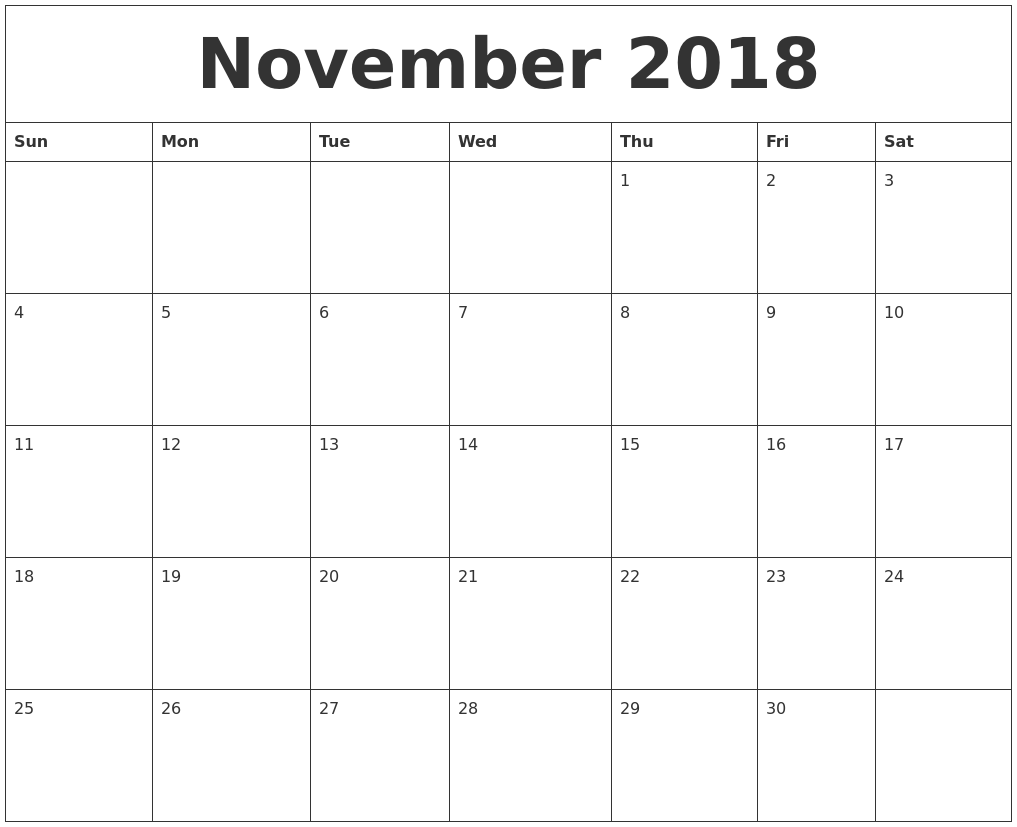 Print November 2018 Blank Calendar