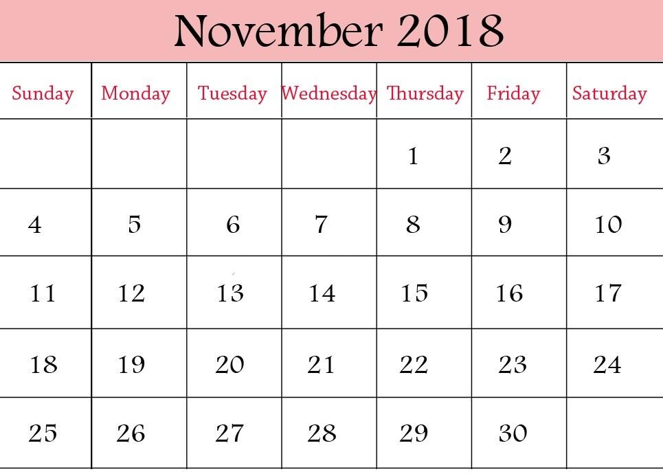 Print November 2018 Calendar Cute