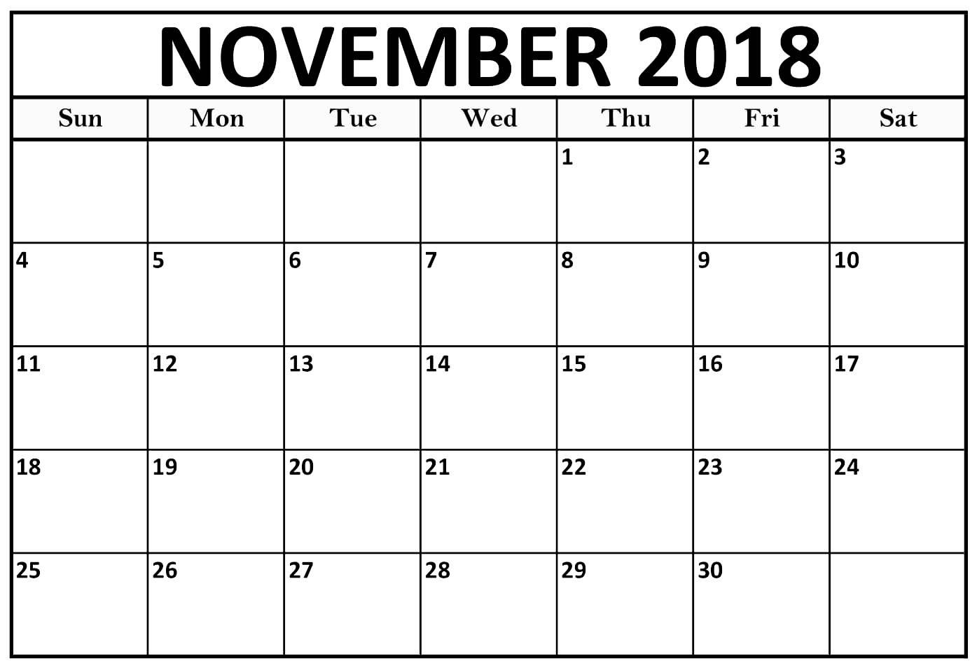Print November 2018 Calendar Editable Templates