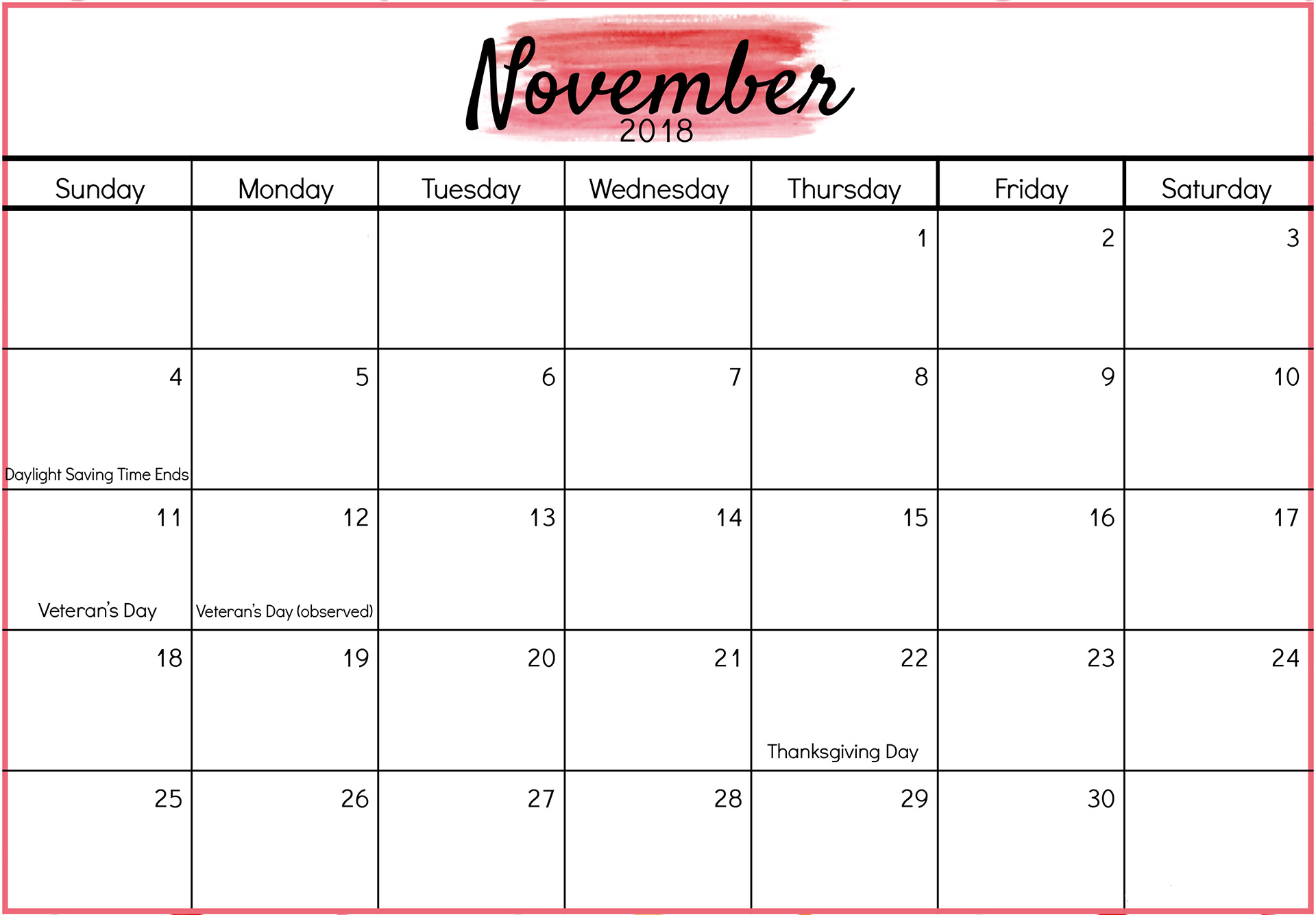 Print November 2018 Calendar