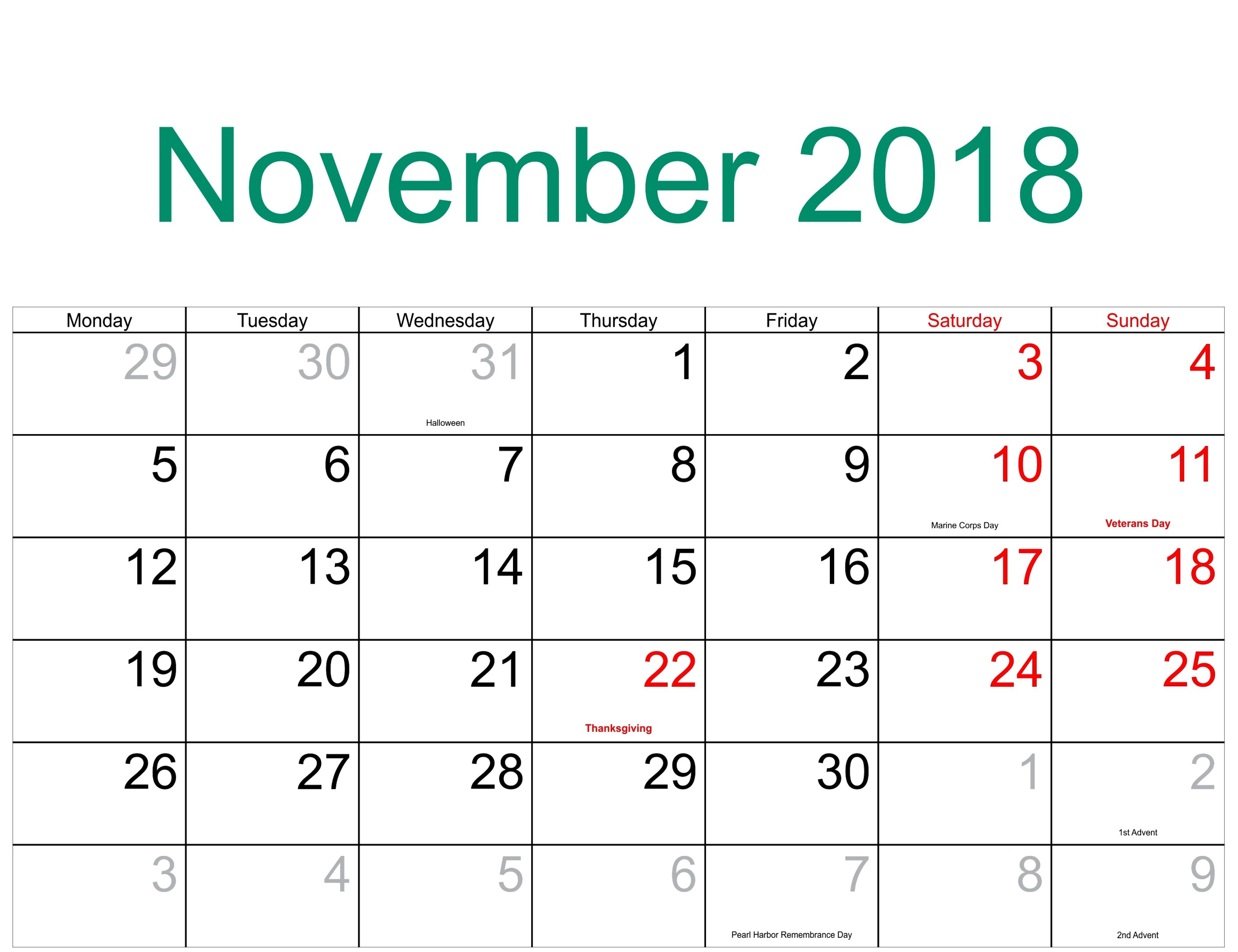 Print November 2018 Monthly Calendar with Holidays