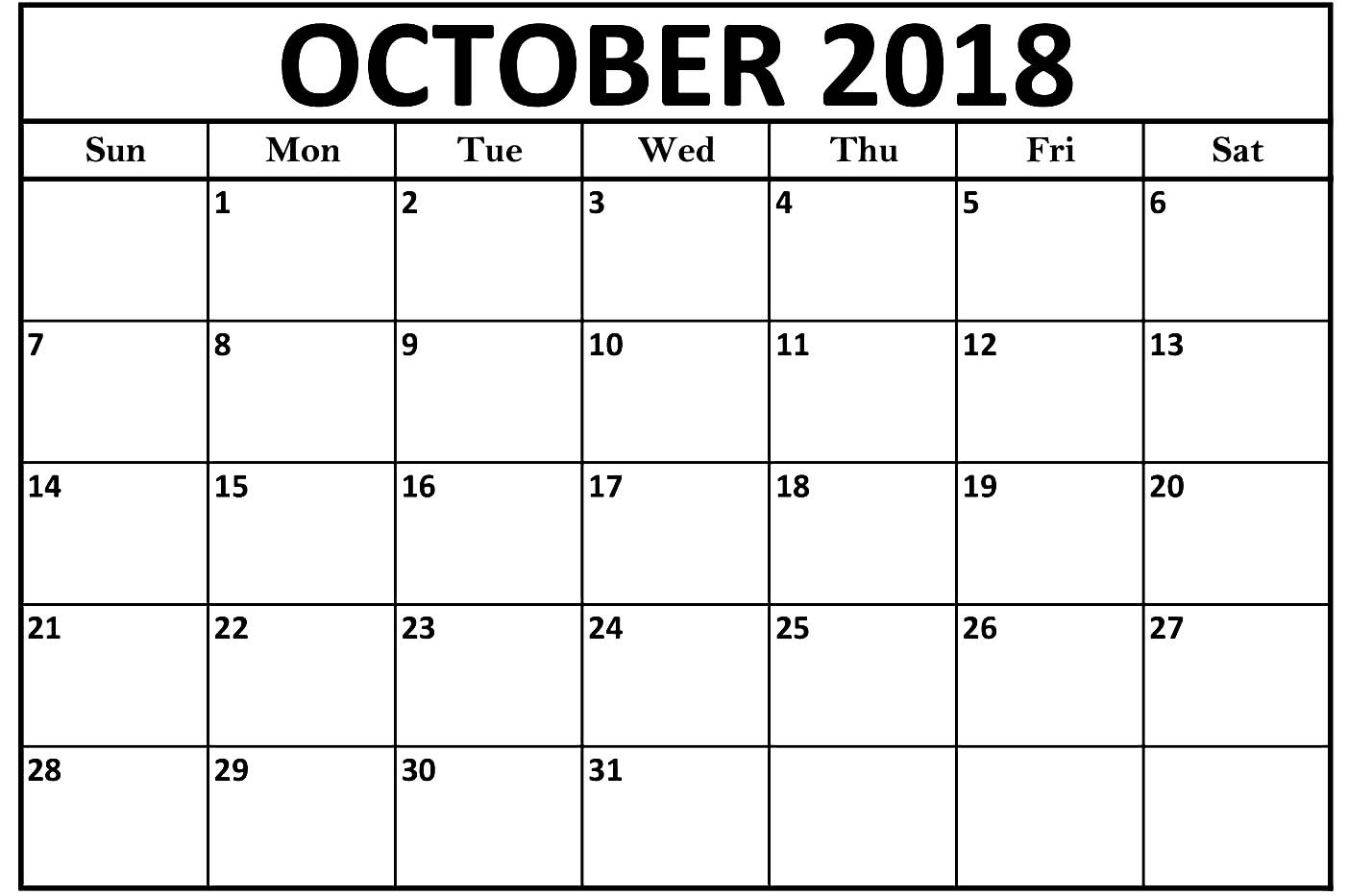 Print October 2018 Calendar Document