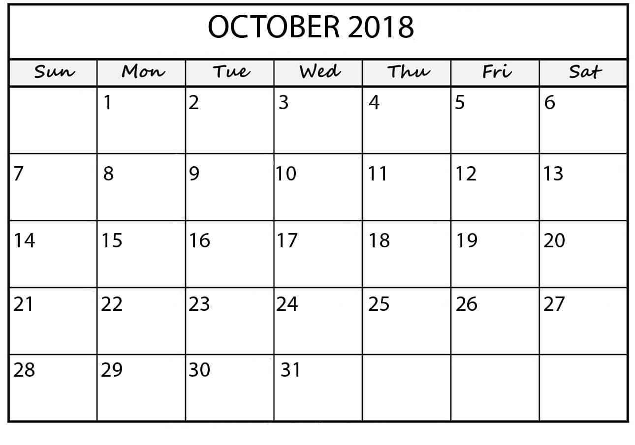 Print October 2018 Calendar Landscape