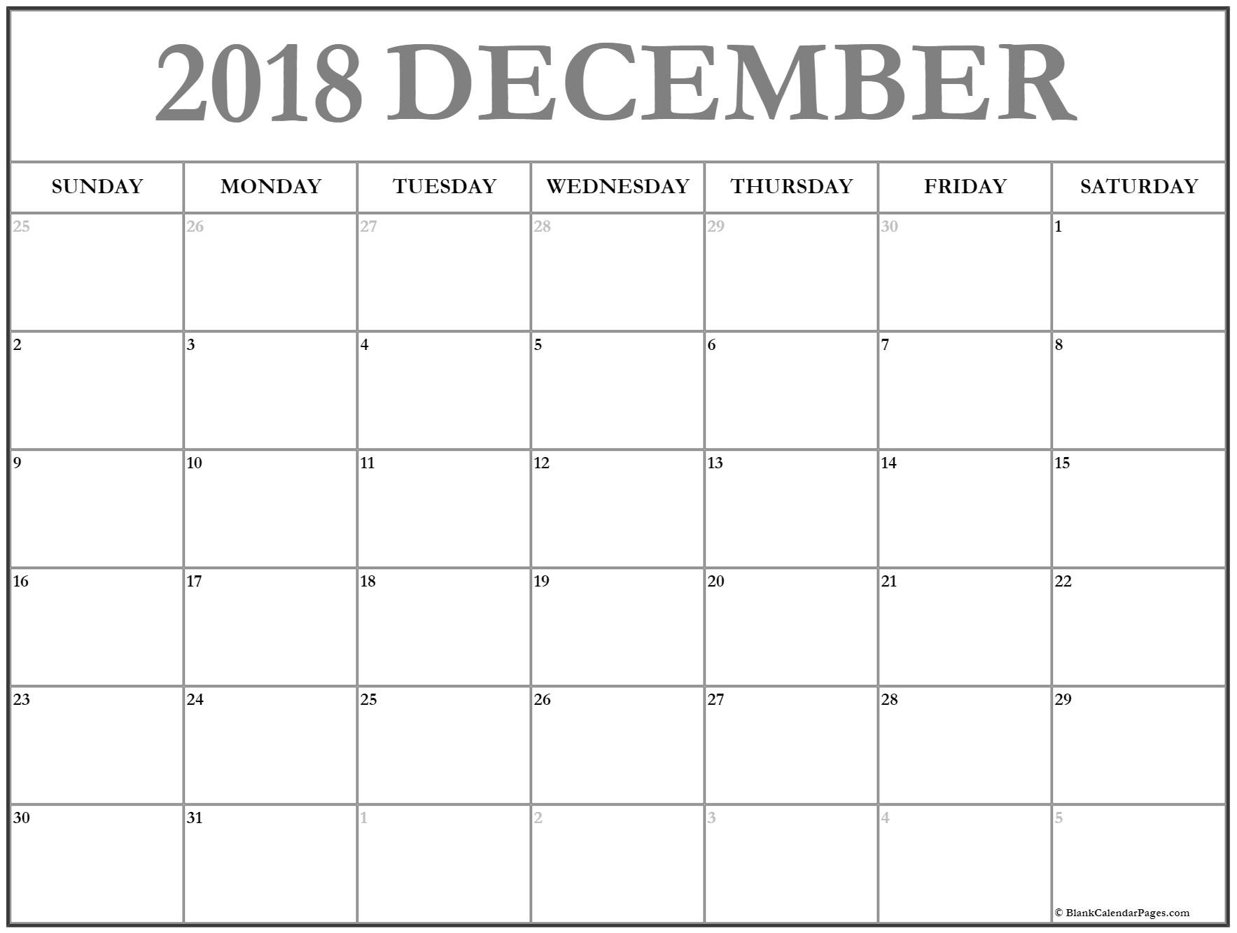 Printable December 2018 Calendar Blank