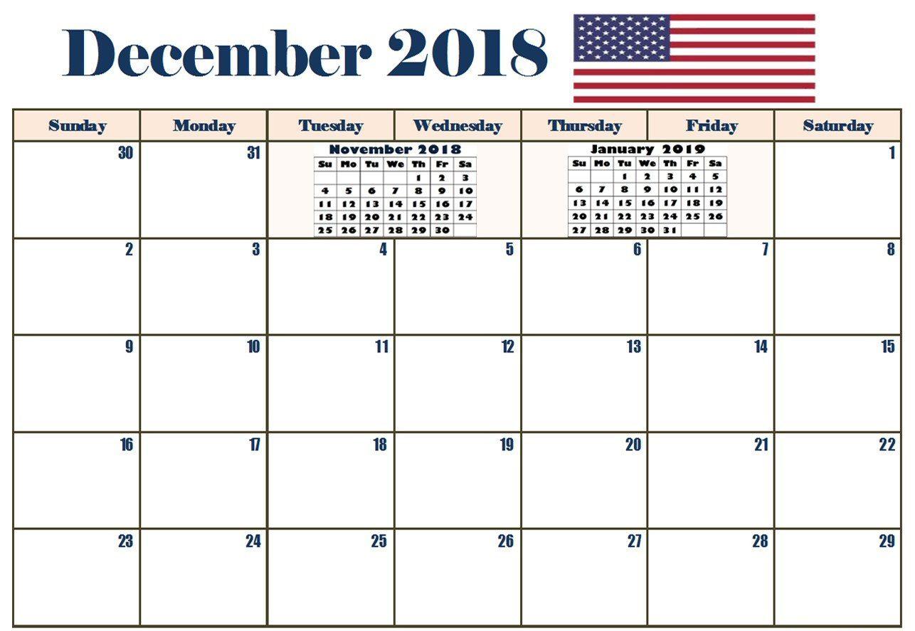 Printable December 2018 Calendar Holidays USA
