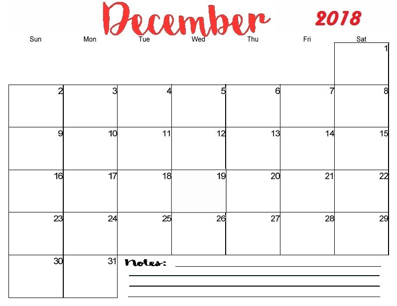 Printable December 2018 Calendar With Notes