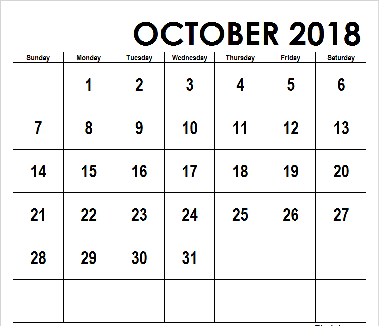 Printable October 2018 Calendar Philippines